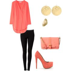 coral and tights, created by houstonlove1 on Polyvore