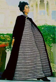Australian designer Norma Tullo black rabbit coat lined with striped silk photo Dieter Muller - Vogue 1968