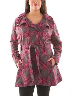 dots: Plus Wide Lapel Plaid Belted Wool Coat