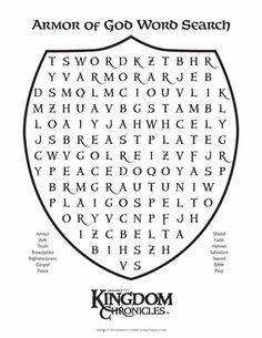 "Scripture Blessings ideas~""Hattie's Bible Crafts""~~Armor of God--Word Search Eph 6 verses Sunday School Activities, Bible Activities, Sunday School Lessons, Sunday School Crafts, Bible Games, Class Activities, Bible Crafts For Kids, Bible Study For Kids, Bible Lessons For Kids"