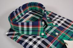 Ingram shirt green and blue plaid button-down collar size 41