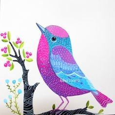 Pink Purple Bird, Kids wall art, living room decor, nature , woodland. Original acrylic painting on heavy weight watercolor paper. Make your walls