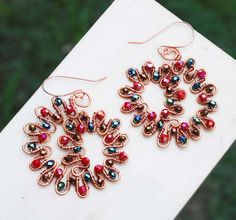 Dancing Peacock Earrings Copper Wire Wrap Swirl Spiral Beautiful Crystals Design #Jeanninehandmade #Wrap