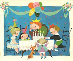 illustration for a Golden Book, by Mary Blair.  this is a party I want to be at!  #illustration #party #kidsbirthdayparty