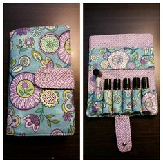 $20 EO roller bottle travel pouch. Yes! Holds 6 bottles. I hate this pattern, but you can choose your own. #etsy #essentialoils