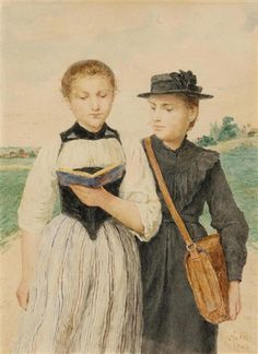 """Zwei junge Mädchen"", also known as ""Two Young Girls"" (1903), by Swiss artist - Albert Anker (1831-1910), Watercolor on paper, 34 x 24 cm. (13.4 x 9.4 in.), Private collection."
