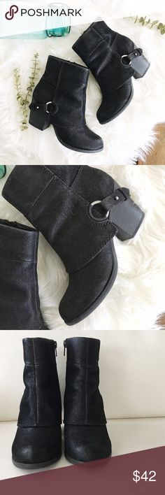 """{fergie} black booties ✨ sassy black booties by Fergalicious ✨  ➳these are preloved but were only worn about 3 times ➳ minor scuffing around toe areas, minimal signs of wear. see photos ➳ 3"""" heel, inside zipper, shaft come up a bit above the ankles  ☞ size 6.5  ❥ no trades ❥ please ask all questions prior to purchase Fergalicious Shoes Ankle Boots & Booties"""