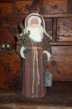 pinterest santa claus crafts primitive | Primitive Old German Style Brown Rusty Red Quilt Santa Claus Tree ...