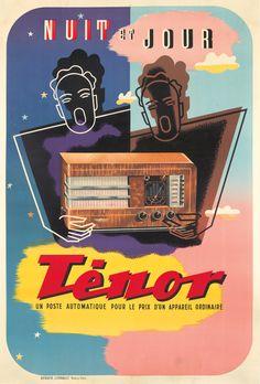 """Nuit et Jour TĒNOR Un Poste Automatique Pour le Prix D'Un Appareil Ordinaire"", (ca. 1930), France, Size: 41 x 60 3/4 inch. (104,3 x 154,2 cm.), Printed by 'Berger-Levrault, Nancy' - Graphic and Illustration Anonymous, [This colorful Art Deco design promotes Tenor radios, perfect for your listening pleasure both night and day]  ~ Original Vintage Deco Poster."