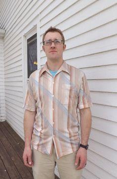 3a3ecc6ca6 70s Mens Shirt Casual Striped Vintage Polyester Button Down L