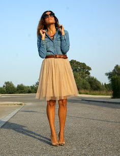 {sparkle and blue} nude tulle skirt by zara, cap-toe shoes by menbur, chambray shirt by zara.