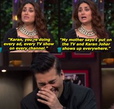 17 Times Celebs Were Absolutely Savage To Karan Johar On His Own Goddamn Show Latest Funny Jokes, Funny Memes, Hilarious, Bollywood Memes, Bollywood Celebrities, Koffee With Karan, Desi Memes, Karan Johar, Kareena Kapoor Khan