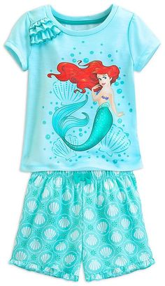 ef665aa98b Disney Store Ariel Little Girls  Short Sleep Set Size 5 6 Small Baby