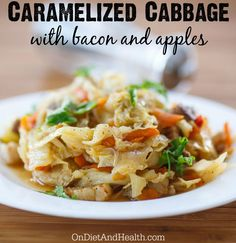 Caramelized cabbage with bacon and apples #paleo #glutenfree // OnDietAndHealth.com