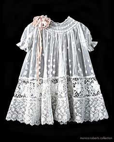 antique French embroidered net and lace baby dress (robe de bébé) ... ca. 1915 vintage baby dress