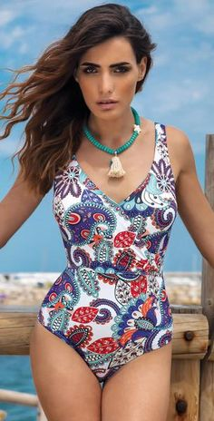 b3cd43f8c72c4 Kuny Rodas White Peak One Piece in C Cup 1613102 C Cup Paisley Pattern,  Monokini. South Beach Swimsuits