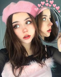 You are in the right place about Makeup Art pink Here we offer you the most beautiful pictures about the … Kawaii Makeup, Cute Makeup, Pretty Makeup, Makeup Art, Beauty Makeup, Makeup Looks, Hair Makeup, Aesthetic Hair, Aesthetic People