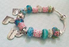 Murano Glass European Style Bracelet, Murano Glass Beads with Inspirational Heart Charms by HopeisHipJewelry on Etsy