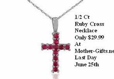 1/2 Ct Ruby Cross Necklace  Only $29.99  At   http://mother-gifts.net/mother-gifts-discounts-and-promotions