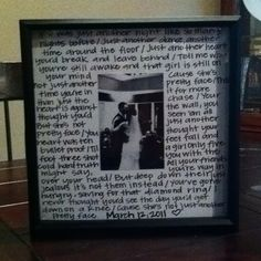 """our first dance lyrics with a picture! gave to him on our first """"paper"""" anniversary"""