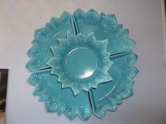 Vtg California Miramar Art Pottery Lazy Susan Serving Dish Mint Turquoise Blue