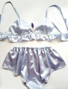 Lingerie lingerie set blue lingerie silk lingerie
