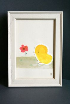 Madame Rhubarbe Chick and Poppy Original Artwork: French Etsy seller Madame Rhubarbe created this lovely chick and poppy illustration ($59) using pencils, ink, and collage methods.