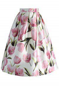 Tulip Admirer A-line Midi Skirt