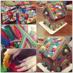 Jazz up a boring gingerbread house kit with colorful Airheads candy!  We cut out Airheads candy tiles for the roof with a decorative cutter, and then lined it with a pretty Airheads Extreme sour rainbow belt.  We also used some yummy Airhead bites to decorate the base of the house.  We think it's our prettiest (and easiest) gingerbread house yet!  #AirheadsCrafts #colorfulgingerbreadhouse #gotitfree http://landing.smiley360.com/airheadscrafts/index.htm