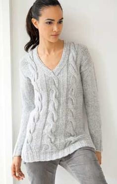 Hand knit Cabled Pullover Vneck sweater by openureyes on Etsy, $149.00