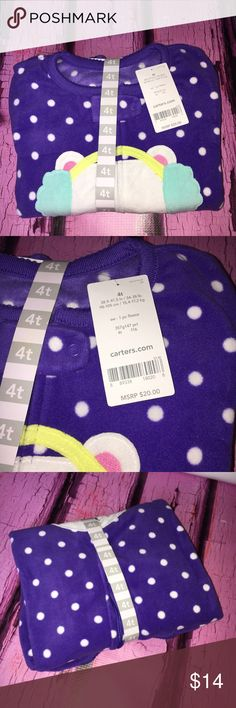 Carter's NWT Polar Bear Feetie Fleece Onesie Adorable onesie that is brand-new with tags. It has not even been unwrapped. Fleece footed zip up onesie with polar bear and ear warmers. Vibrant royal purple color. Bundle and save. Carter's Pajamas Pajama Sets