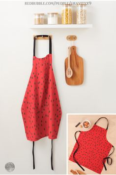 Apron Set with matching wallhanging Picnic Bears watermelon cook bake kitchen decor