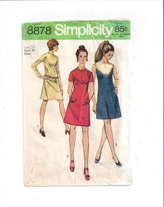 Simplicity 8878 Pattern for Misses' Dress with Front Yoke