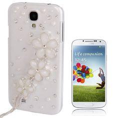 Samsung S4 3D Bloemen motief van Diamanten en Parels Wit