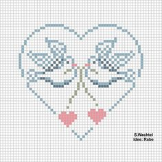 Doves in Heart Free Cross Stitch Pattern Chart Cross Stitch Heart, Cross Stitch Cards, Cross Stitch Samplers, Cross Stitch Animals, Cross Stitching, Cross Stitch Embroidery, Embroidery Patterns, Wedding Cross Stitch Patterns, Cross Stitch Designs