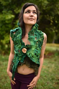 Felt Pixie Vest-Woodland Top- Forest Costume-Festival Wear-Nymph Out Fit-Wool Vest-Elf Top-Burning Man-Tree Costume-Wearable Art- OOAK