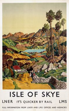 Scottish Railway Travel Poster, Isle of Skye Scotland, It's Quicker by Rail. Vintage poster by LMS