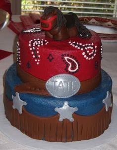 Cowboy Baby shower cake Cowboy Birthday Cakes, Cowboy Cakes, Rodeo Birthday, Cake Birthday, Birthday Bash, Birthday Ideas, Cowboy Baby Shower, Baby Boy Shower, Baby Shower Gifts