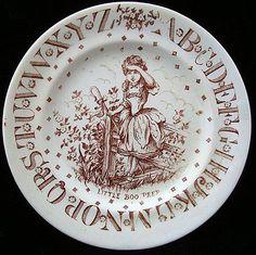 Brown Transfer ABC Plate ~ Little Bo Peep ~ 1890