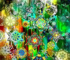 Artist Made FQ Panel Star Kaleidoscope Fiber Art by jacquedesigns, $12.99