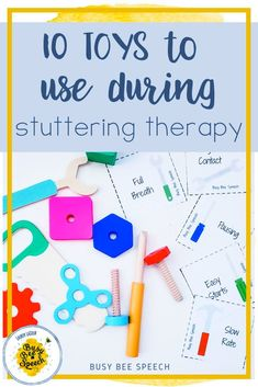 Here are 10 toy ideas for your stuttering speech therapy sessions. Check out the post for a free parent handout!