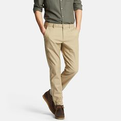 These trendy men's jogger pants feature stretch cotton material with the natural feel of slub yarn. The elastic waistband is relaxed and comfortable, yet the tapered cut and ribbed cuffs give them a stylish look. Try pairing these ankle-baring pants with sneakers for an active style.