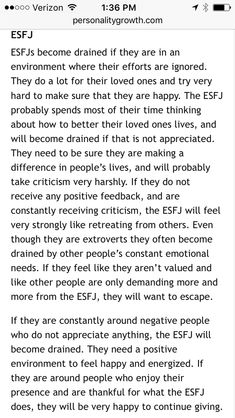 What drains the ESFJ