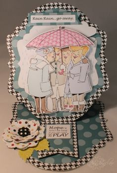 Rain Rain...Go Away Under my Umbrella Art Impressions Girlfriends