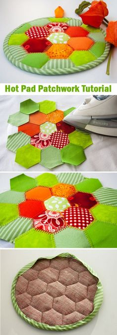 Hot Pad Patchwork of hexagons. ~ How to sew for … Simple patchwork free Tutorial. Hot Pad Patchwork of hexagons. ~ How to sew for beginners. Step by step illustration tutorial. Tutorial Patchwork, Patchwork Ideas, Patchwork Patterns, Sewing Patterns Free, Free Sewing, Quilt Patterns, Free Pattern, Pattern Sewing, Crochet Patterns
