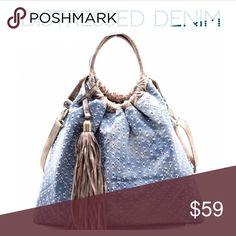 Distressed Denim Satchel Bag Denim bag Tassel Accent Distressed Vintage Denim Satchel  Faux Leather Denim Zip Top Closure Back Zip Pocket Detachable Shoulder Strap 17(L) X 12(H) X 7(W) Threads & Trends Bags Satchels