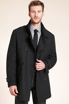 Autograph Wool Blend Double Breasted Funnel Neck Coat  £135.00