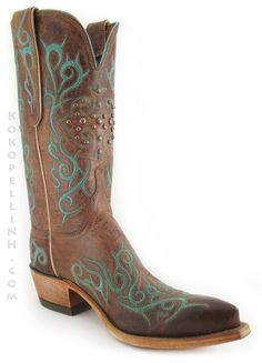 Tribal Turquoise Scrolling and Studs: Lucchese 1883 Mad Dog Goat Cowboy Boots (# N4746) Love'em;-)