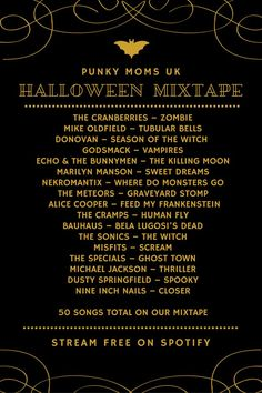 We love our Halloween mixtapes here at Punky Moms. At the time of publication th… Sponsored Sponsored We love our Halloween mixtapes here at Punky Moms. At the time of publication this is our playlist, and we have another… Continue Reading → Halloween Tags, Halloween Music, Halloween Party Supplies, Cute Halloween Costumes, Diy Halloween Decorations, Holidays Halloween, Halloween Crafts, Happy Halloween, Halloween Playlist Music