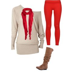 Red leggings, brown boots, red scarf , and tan oversized shirt! I have a scarf problem!